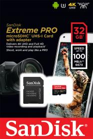 Sandisk Extreme Pro microSDHC 32GB U3 V30 A1 with Adapter (SDSQXCG-032G-GN6MA)